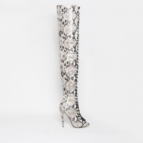Mikaela Black and White Snake Lace Up Stiletto Thigh High Boots