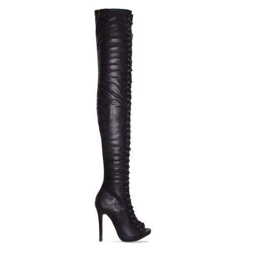 Mikaela Black Snake Lace Up Stiletto Thigh High Boots