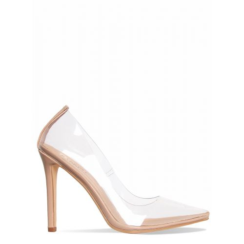 Nova Nude Clear Stiletto Court Shoes