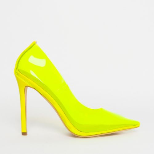 Nova Neon Yellow Clear Stiletto Court Shoes