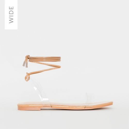 Laurel Wide Fit Nude Patent Lace Up Sandals
