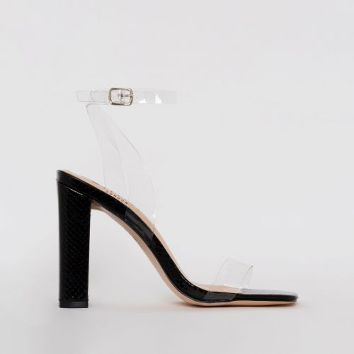 Dymond Black Patent Croc Print Clear Block Heels