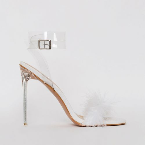 Polly White Snake Print Fluffy Clear Stiletto Heels