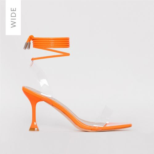 Truo Wide Fit Orange Patent Clear Lace up Stiletto Heels