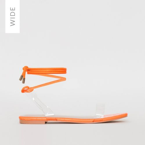 Laurel Wide Fit Orange Croc Print Lace Up Sandals