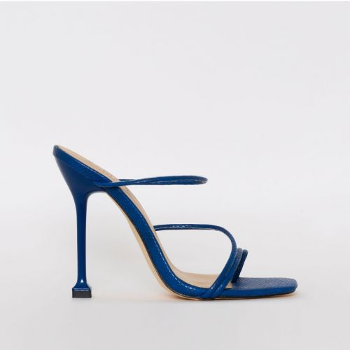 Marni Navy Snake Print Strappy Mule Heels