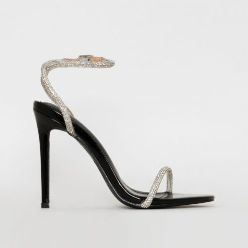Ieva Black Patent Diamante Stiletto Heels