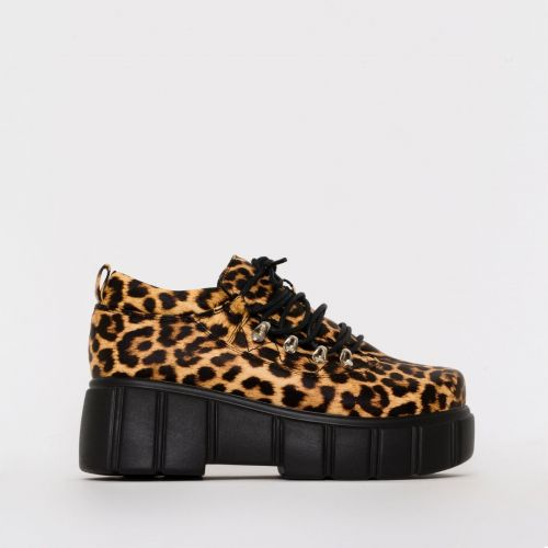 Nico Leopard Print Lace Up Flatforms