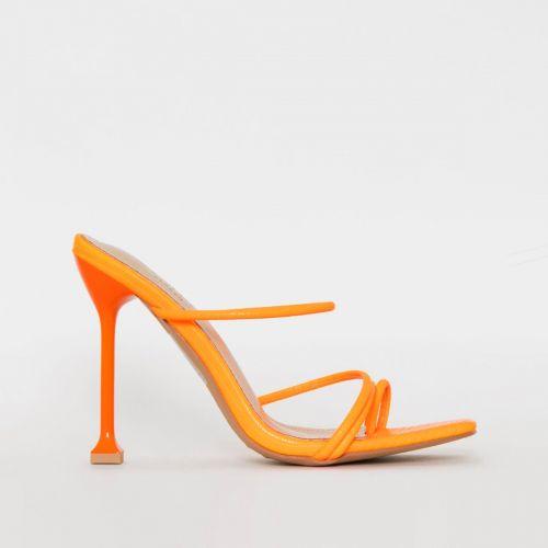 Mariana Orange Snake Print Strappy Mule Heels