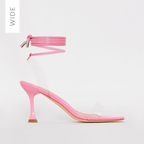 Truo Wide Fit Pink Patent Clear Lace up Stiletto Heels