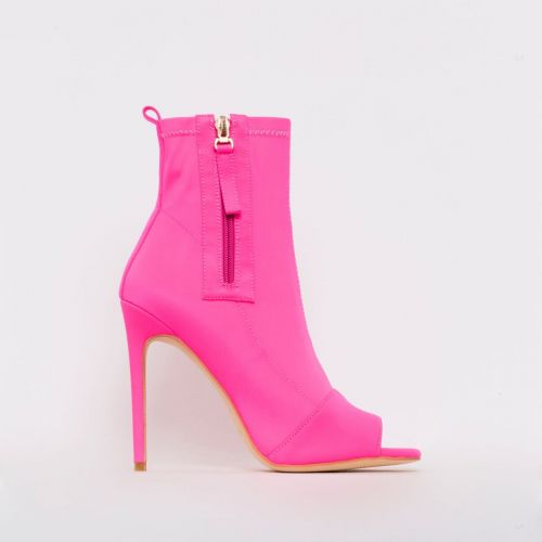 Avril Hot Pink Lycra Peep Toe Ankle Boots