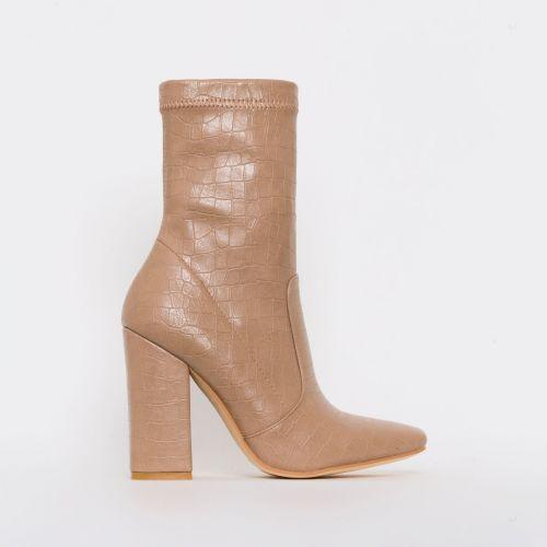 Tanya Nude Croc Print Block Heel Ankle Boots
