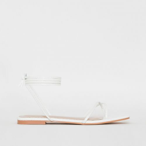 Daryl White Patent Python Print Sandals