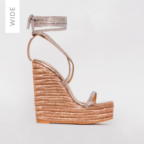 Ciara Wide Fit Rose Gold Diamante Lace Up Espadrille Wedges