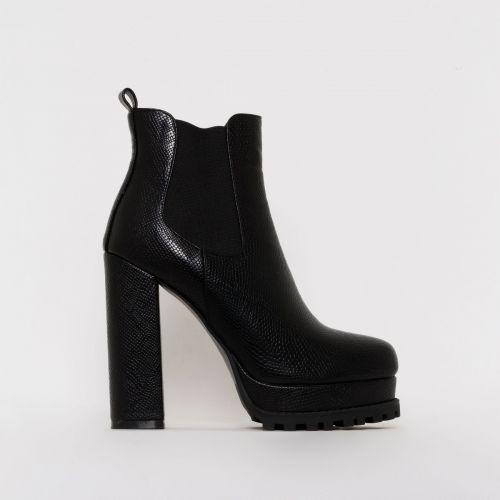 Aura Black Snake Print Platform Ankle Boots