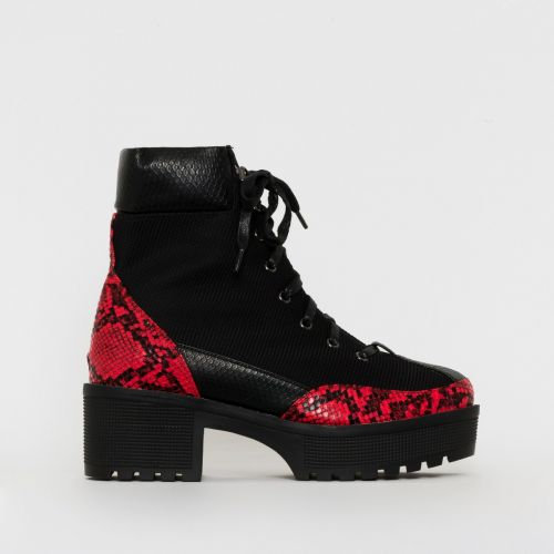 Karmen Black Red Snake Print Lace Up Hiking Ankle Boots