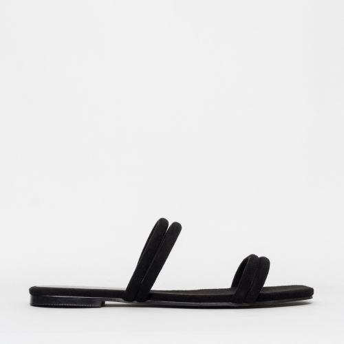 Rai Black Suede Strappy Slides