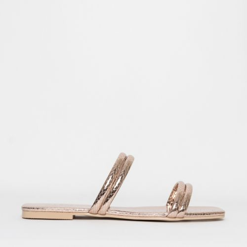 Rai Rose Gold Snake Strappy Slides