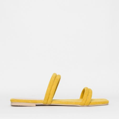 Rai Yellow Suede Strappy Slides