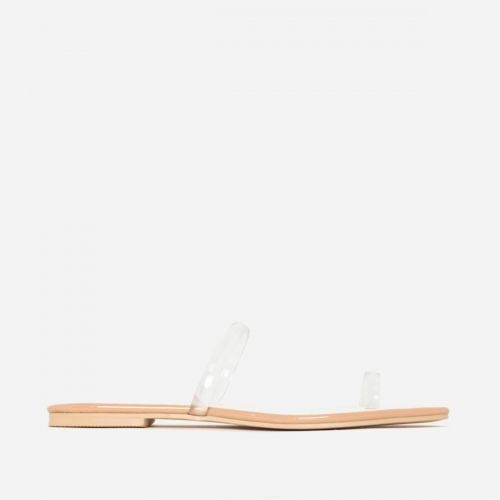 Rosie Clear Nude Patent Toe Loop Flats
