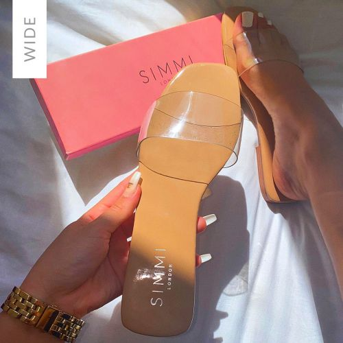 Rhianne Wide Fit Nude Patent Clear Sliders