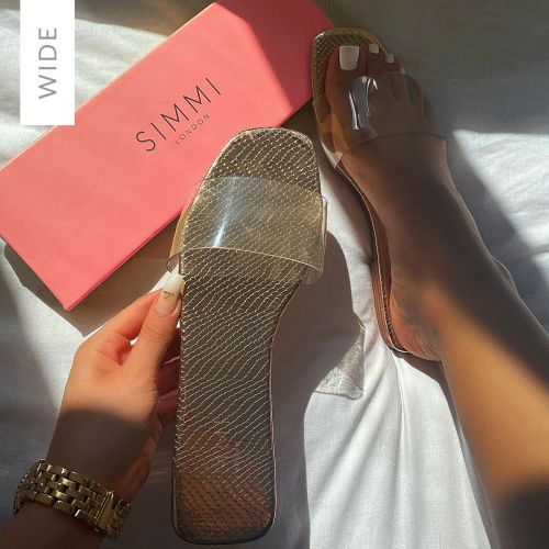 Rhianne Wide Fit Rose Gold Snake Print Clear Sliders