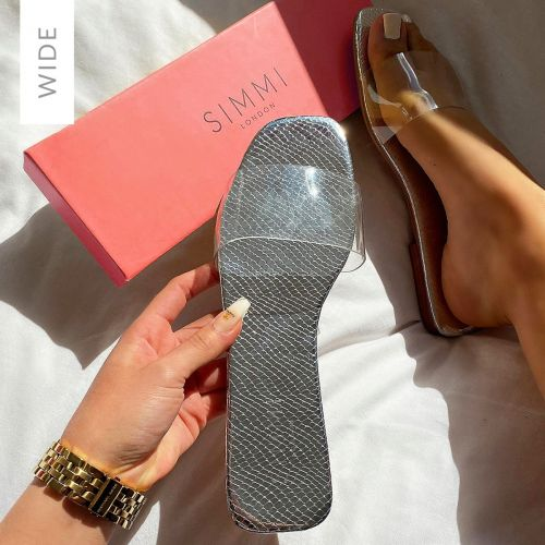 Rhianne Wide Fit Silver Snake Print Clear Sliders