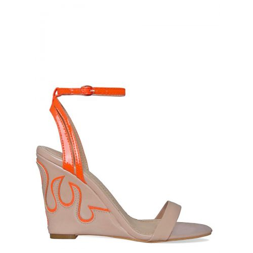 Rita Nude and Orange Flame Wedge Heels