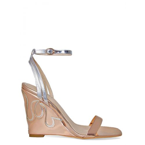 Rita Rose Gold and Silver Flame Wedge Heels