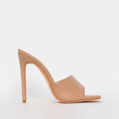 Amalie Nude Stiletto Mule Heels