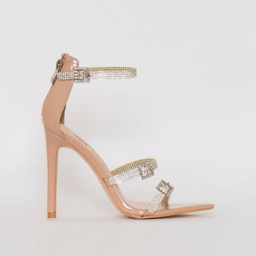 Ophelia Nude Patent Diamante Buckle Strappy Heels