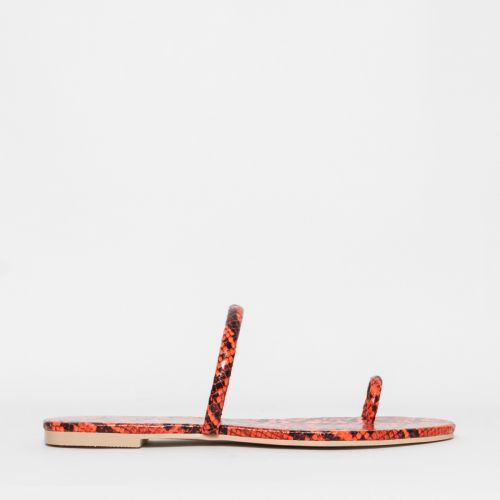Sofia Orange Snake Toe Loop Flats