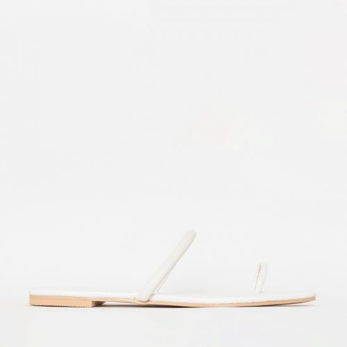 Sofia White Snake Print Toe Loop Flats