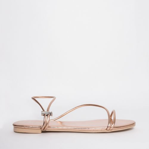 Savanna Rose Gold Strappy Toggle Flats