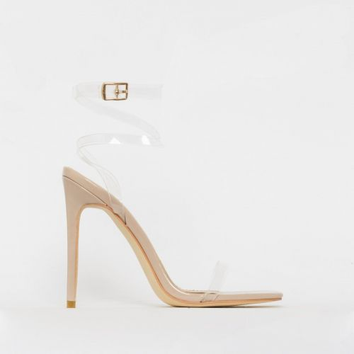 Tamana Nude Patent Clear Lace Up Stiletto Heels