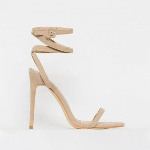 Tamana Nude Suede Lace Up Stiletto Heels