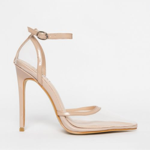 Eva Clear Nude Patent Stiletto Court Heels