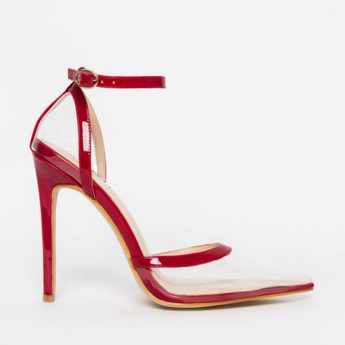 Eva Clear Red Patent Stiletto Court Heels