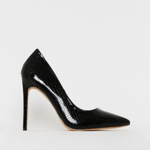 Samia Black Patent Python Print Stiletto Court Shoes
