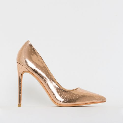 Samia Rose Gold Patent Python Print Stiletto Court Shoes
