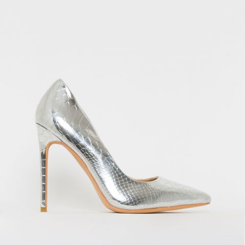 Samia Silver Patent Python Print Stiletto Court Shoes