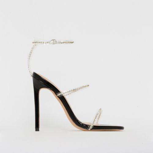 Evie Black Patent Clear Diamante Stiletto Heels