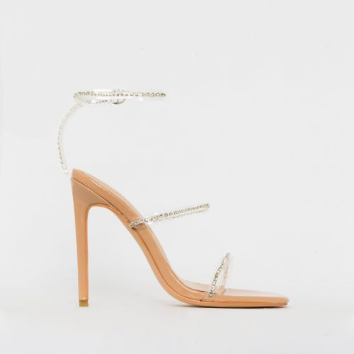 Evie Nude Patent Clear Diamante Stiletto Heels
