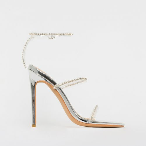 Evie Silver Clear Diamante Stiletto Heels