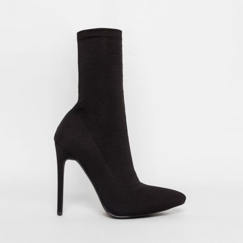 Tate Black Lycra Pointed Toe Ankle Boots