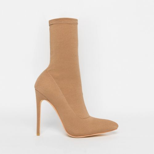 Tate Nude Lycra Pointed Toe Ankle Boots
