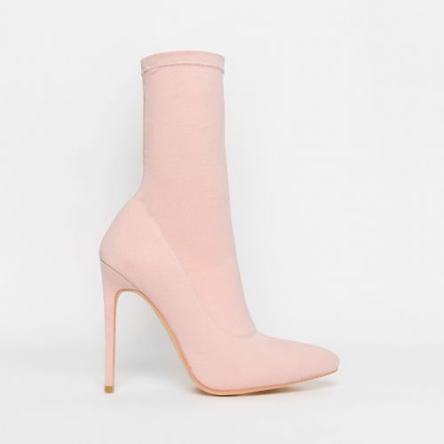 Tate Pink Lycra Pointed Toe Ankle Boots
