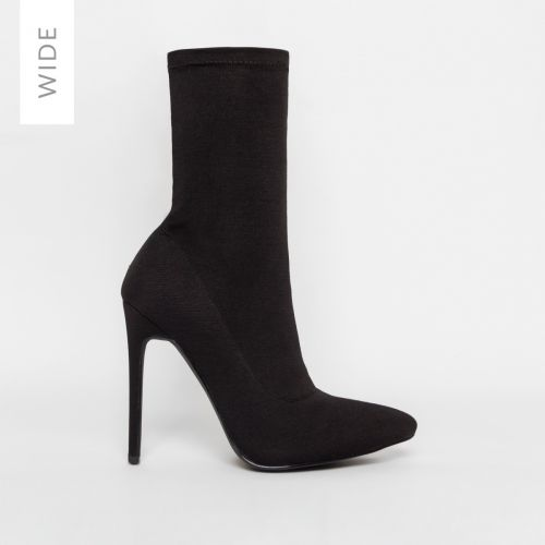 Tate Wide Fit Black Lycra Pointed Toe Ankle Boots