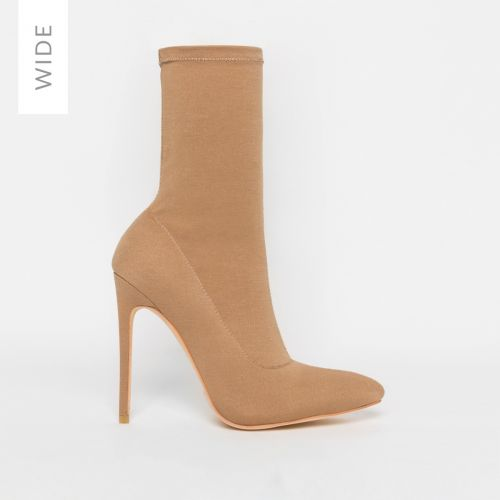 Tate Wide Fit Nude Lycra Pointed Toe Ankle Boots