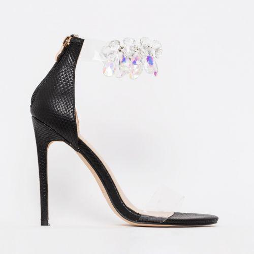 Marianna Black Snake Print Gem Clear Stiletto Heels